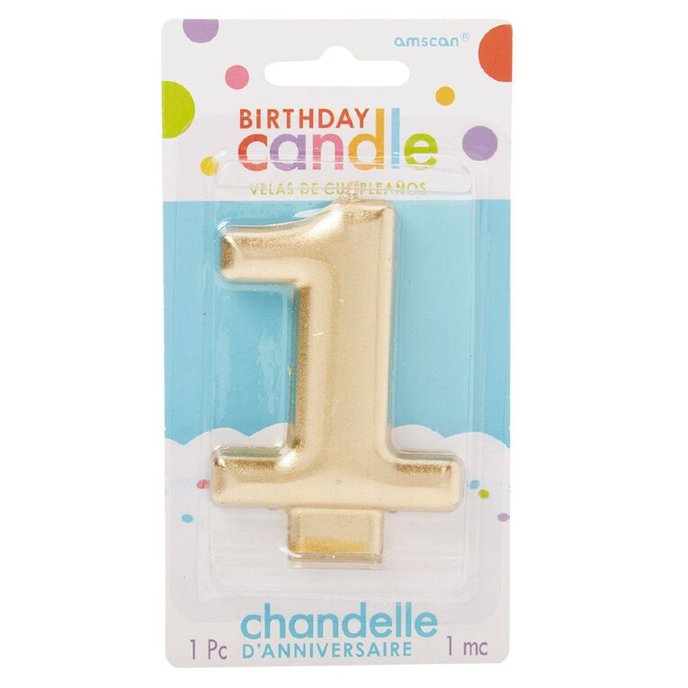 Candle Metallic Numeral #1 Gold, , hi-res