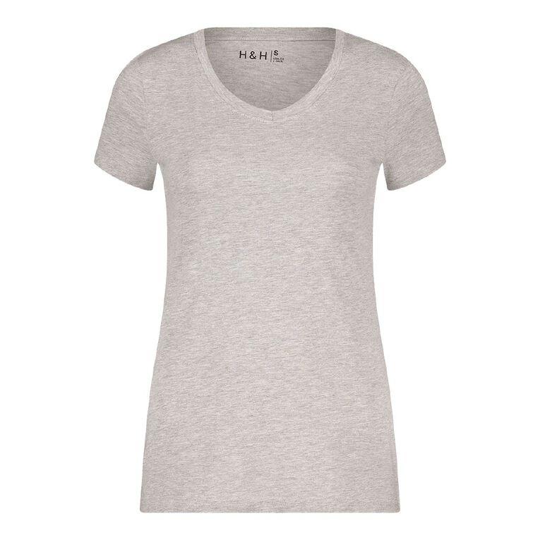 H&H Women's V-Neck Tee, Grey Marle, hi-res