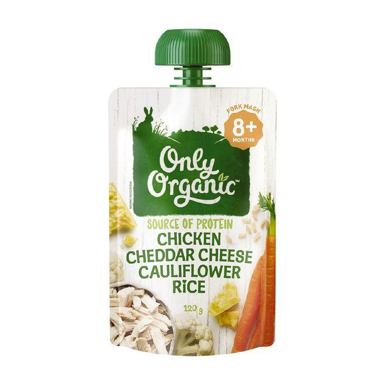 Only Organic Chicken Cheddar Cheese & Cauliflower Rice 120g, , hi-res