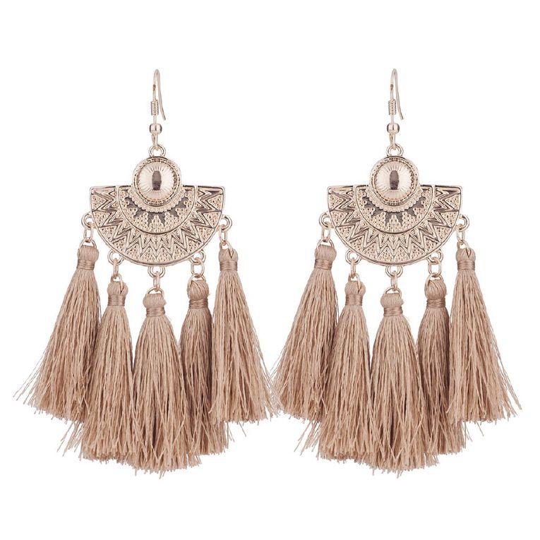 Basics Brand Hammered Tassel Earrings, Gold, hi-res image number null