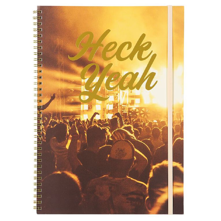 Uniti Fun & Funky Q4 Softcover Spiral Notebook Heck Yeah Gold A4, , hi-res