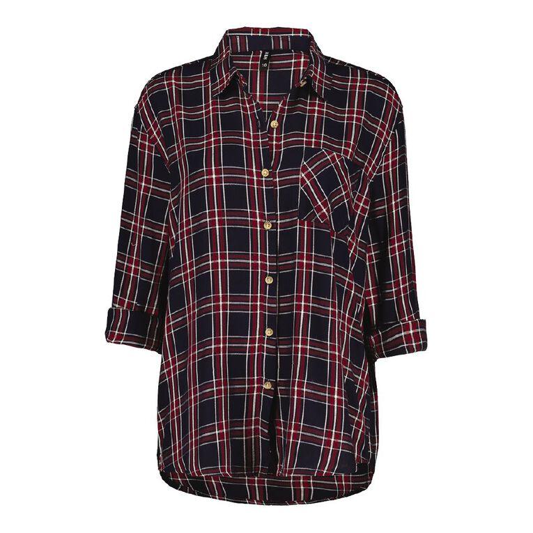 H&H Women's Long Sleeve Check Shirt, Navy/Red, hi-res
