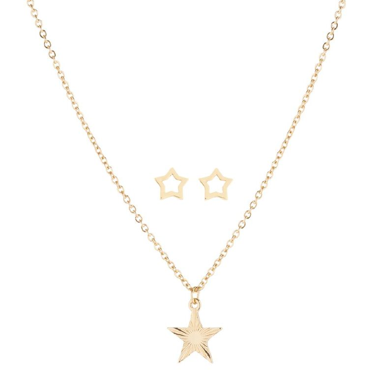 Kids' Star Earrings and Necklace Set, , hi-res