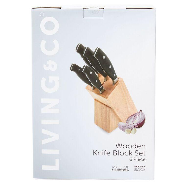 Living & Co Wooden Knife Block Set 6 Pack, , hi-res