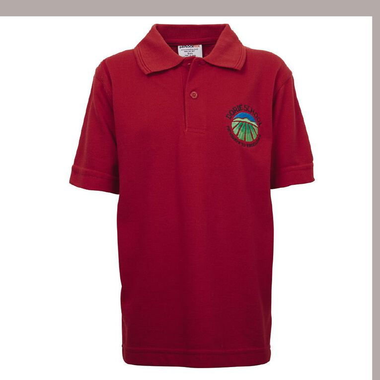 Schooltex Dorie School Short Sleeve Polo with Embroidery, Red, hi-res
