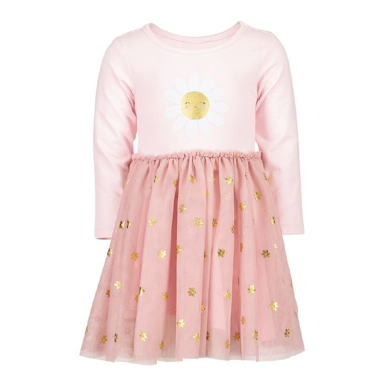 Young Original Toddler Long Sleeve Tulle Dress, Pink Light, hi-res