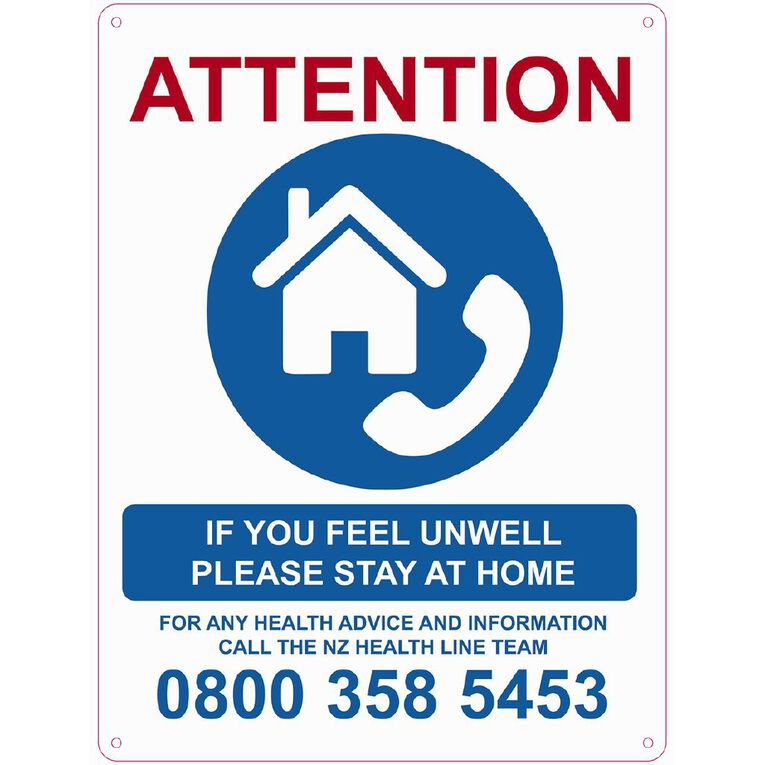 WS COVID Sign FEEL UNWELL STAY AT HOME, , hi-res