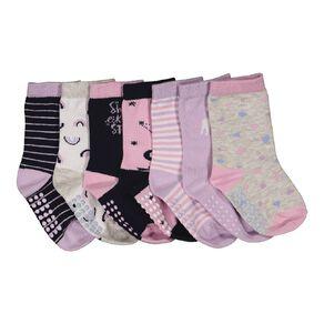 H&H Infant Girls' Patterned Crew Socks 7 Pack