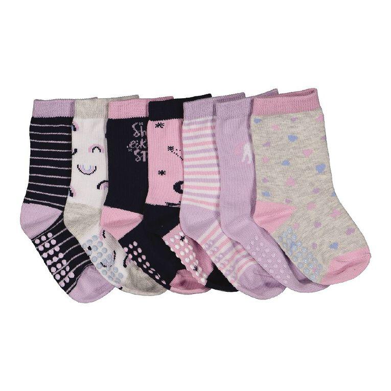 H&H Infant Girls' Patterned Crew Socks 7 Pack, Purple Light, hi-res