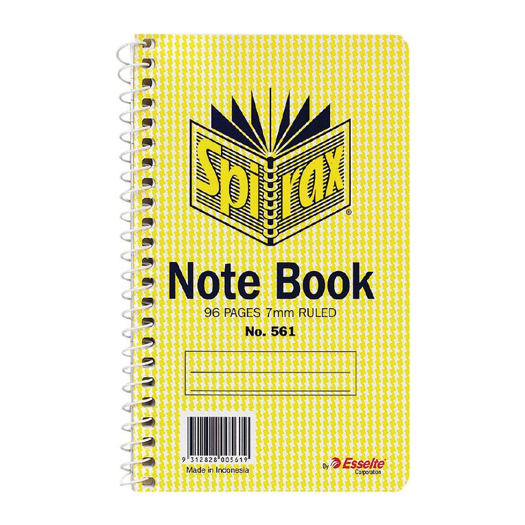 Spirax Notebook Spiral No.561 96pg 7mm Ruled 147 x 87mm Yellow, , hi-res