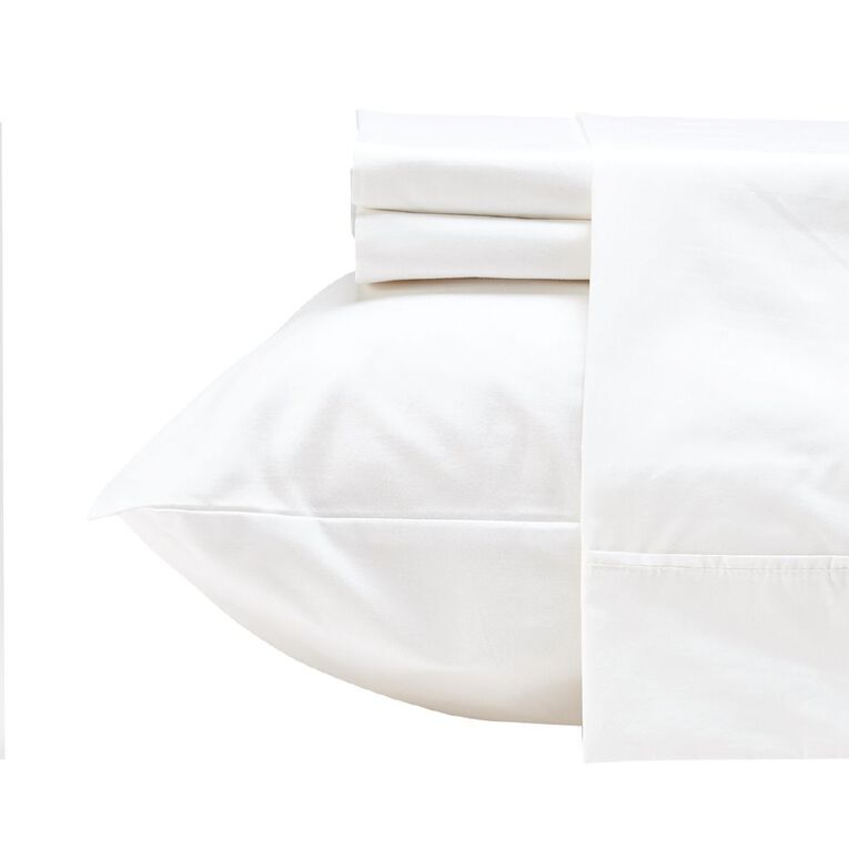 Living & Co Sheet Set Cotton 400 Thread Count White King, White, hi-res