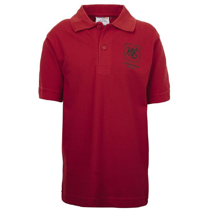 Schooltex Kaiapoi North Short Sleeve Polo with Transfer, Red, hi-res