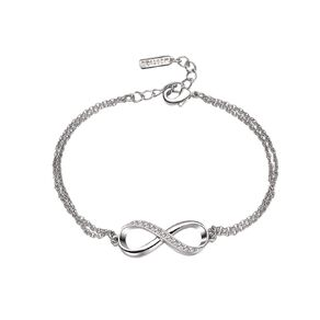 Mestige Infinitely Yours Silver Plated Bracelet with Swarovski Crystals