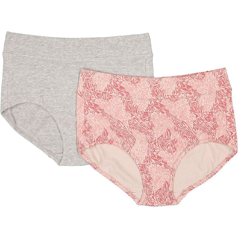 Underworks Women's Smooth Line Full Brief 2 Pack, Pink/Grey, hi-res