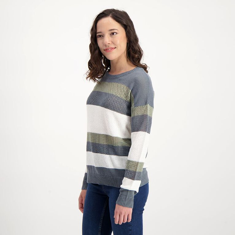 H&H Women's Eyelet Knit, Blue/White, hi-res image number null