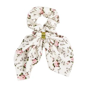 Bow Scrunchie With Gold Embellishment White