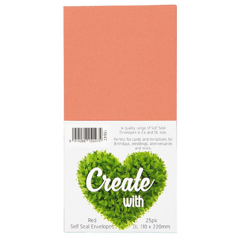 Create With DL Envelope 25 Pack Red, , hi-res