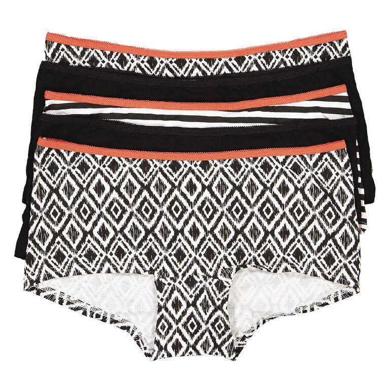H&H Women's Shortie Briefs 5 Pack, Black/White, hi-res