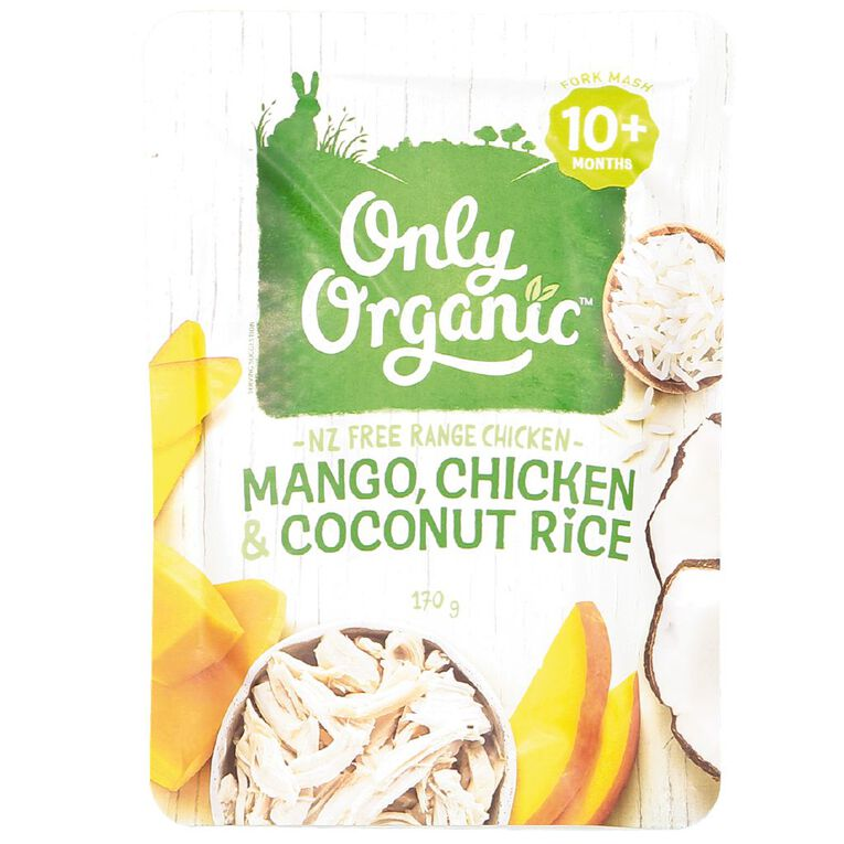 Only Organic Mango Chicken and Coconut Rice Pouch 170g, , hi-res