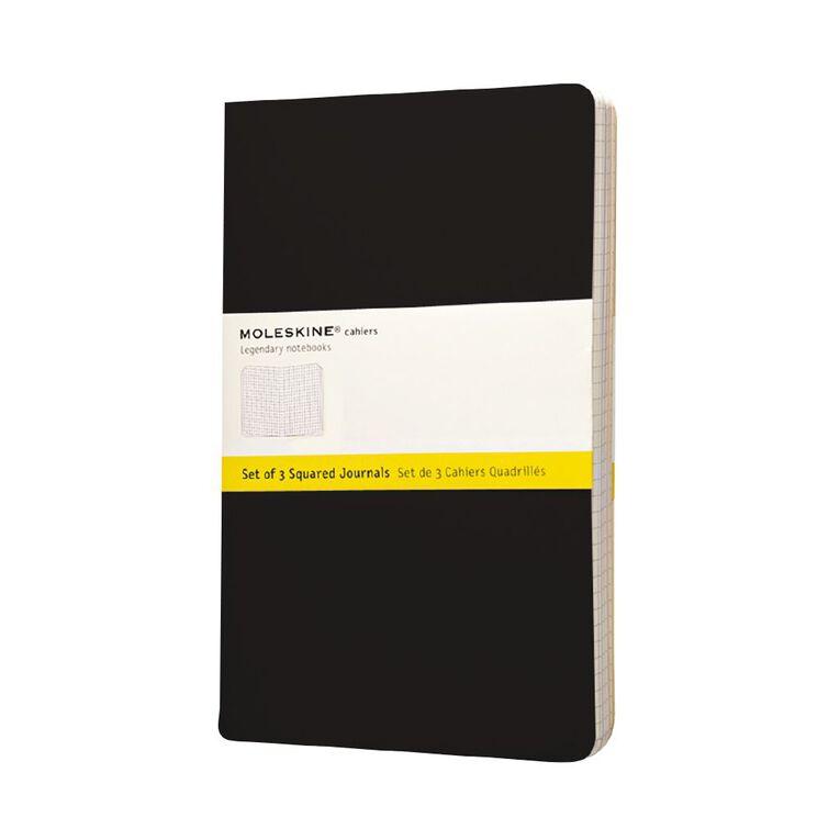 Moleskine Cahier Large Notebook Squared 3 Pack Black, , hi-res