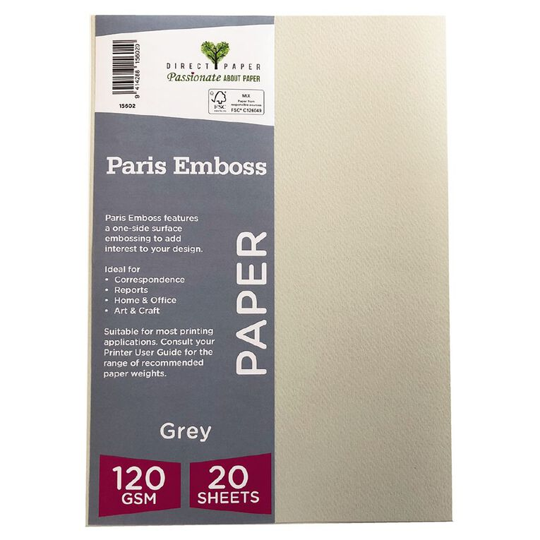 Direct Paper Paris Emboss 120gsm A4 20 Pack Grey, , hi-res