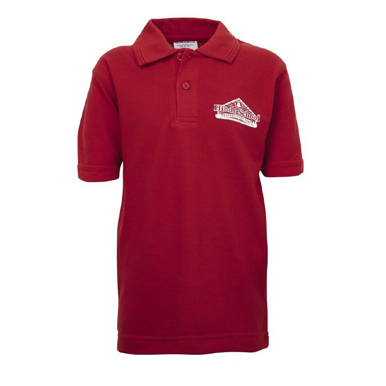 Schooltex Hinds Short Sleeve Polo with Screenprint, Red, hi-res