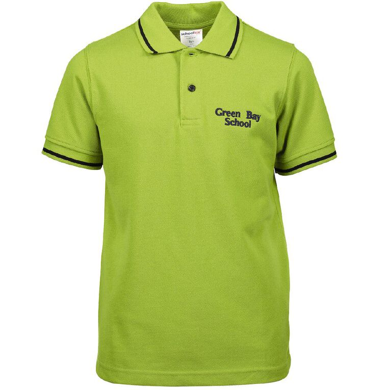 Schooltex Green Bay Primary Short Sleeve Polo with Embroidery, Avocado, hi-res