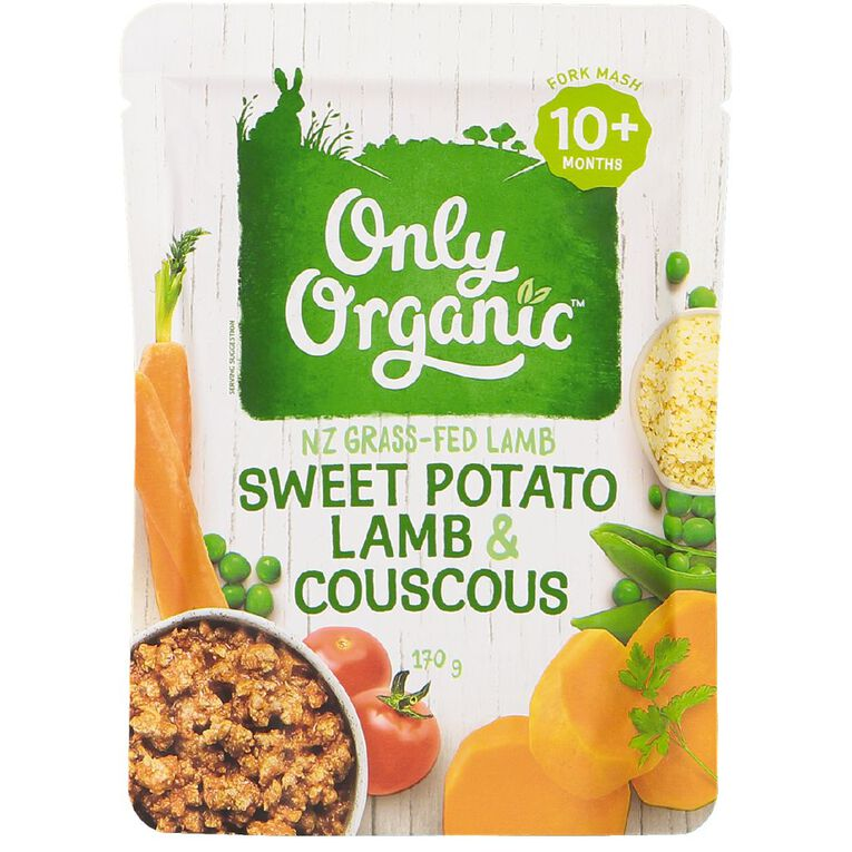 Only Organic Baby Food Sweet Potato Lamb Couscous 170g Pouch, , hi-res