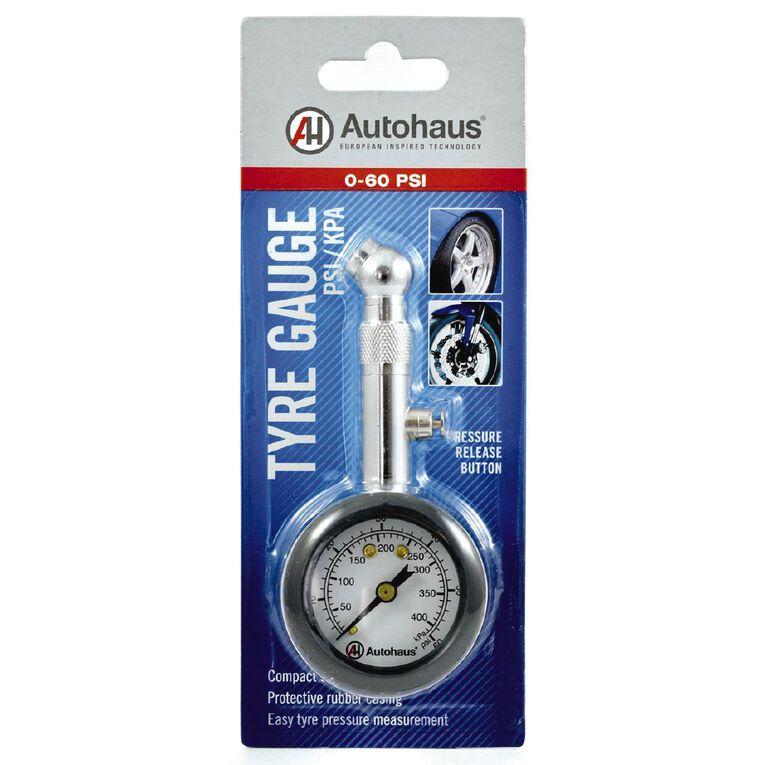 Autohaus Steel Tyre Pressure Gauge Dual Scale 0-60 Psi 0-410 kPa, , hi-res