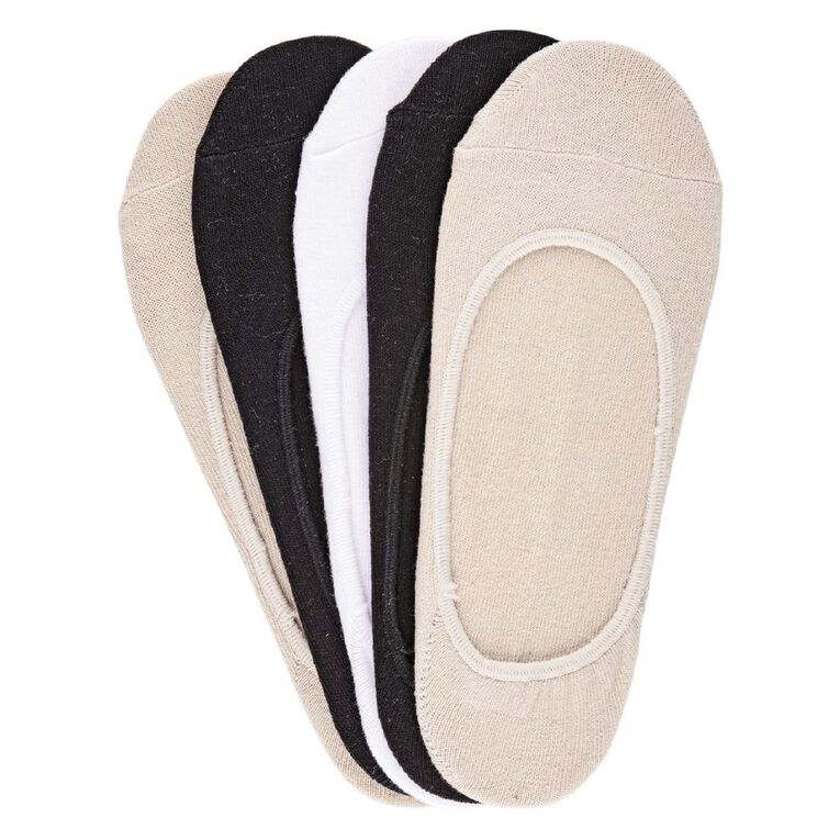 H&H Women's Footlet Socks 5 Pack, Beige, hi-res