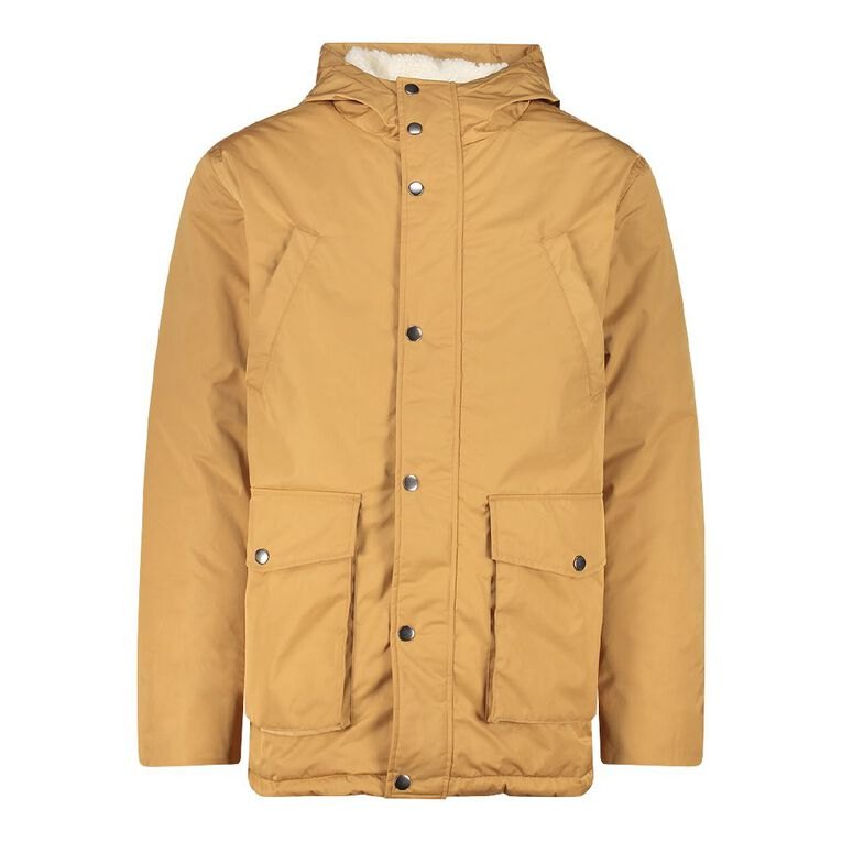 H&H Men's Padded Parker Jacket, Beige, hi-res