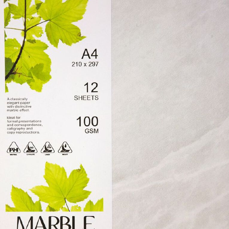 Direct Paper Marble Paper 100gsm 12 Pack White A4, , hi-res