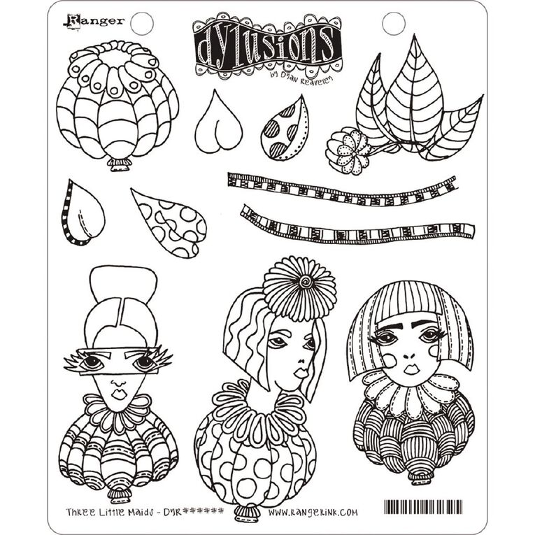 Ranger Dylusions Stamp Three Little Maids, , hi-res