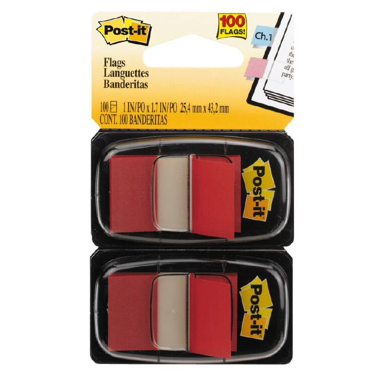 Post-It Flags 2 Pack Red, , hi-res