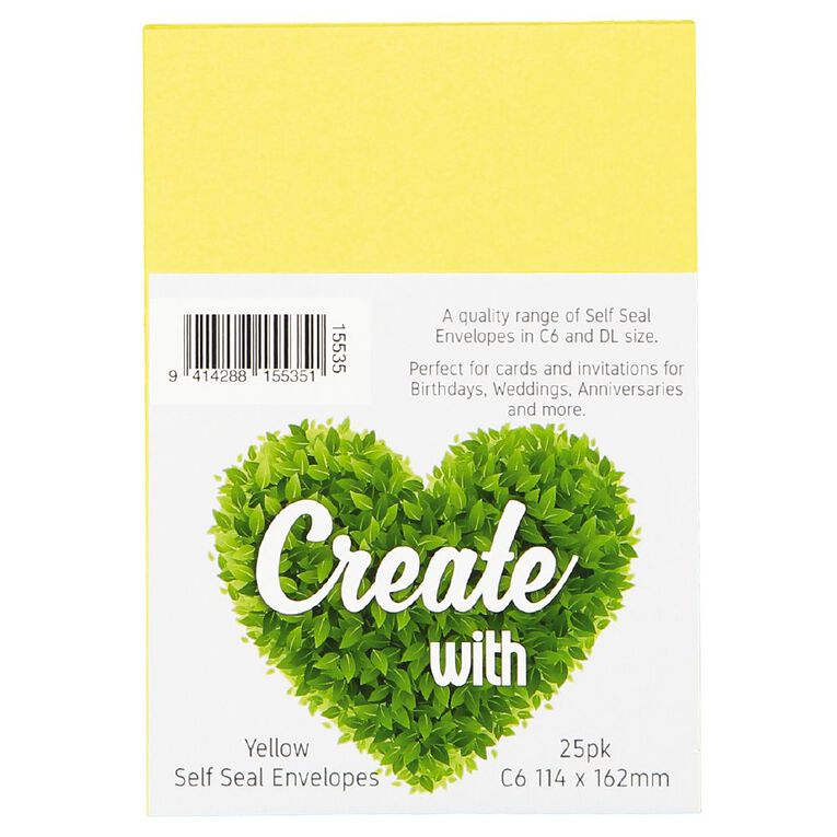 Create With C6 Envelopes 25 Pack Yellow, , hi-res