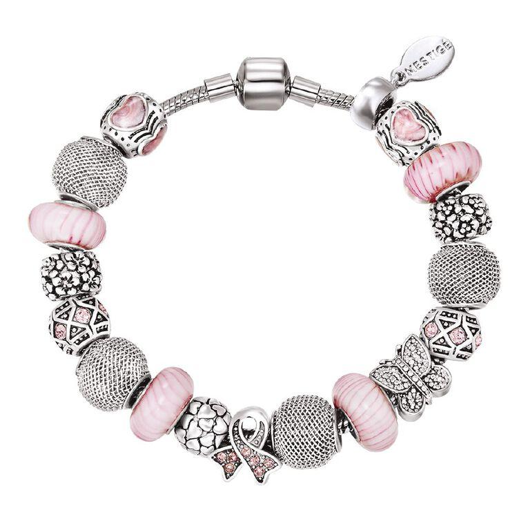 Mestige Silver Plated Pink Swarovski Crystal Gracious Bracelet, , hi-res