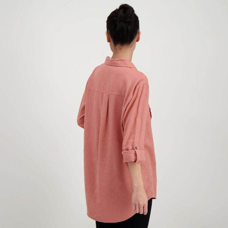 H&H Women's Linen Blend Utility Shirt, Brown Mid, hi-res