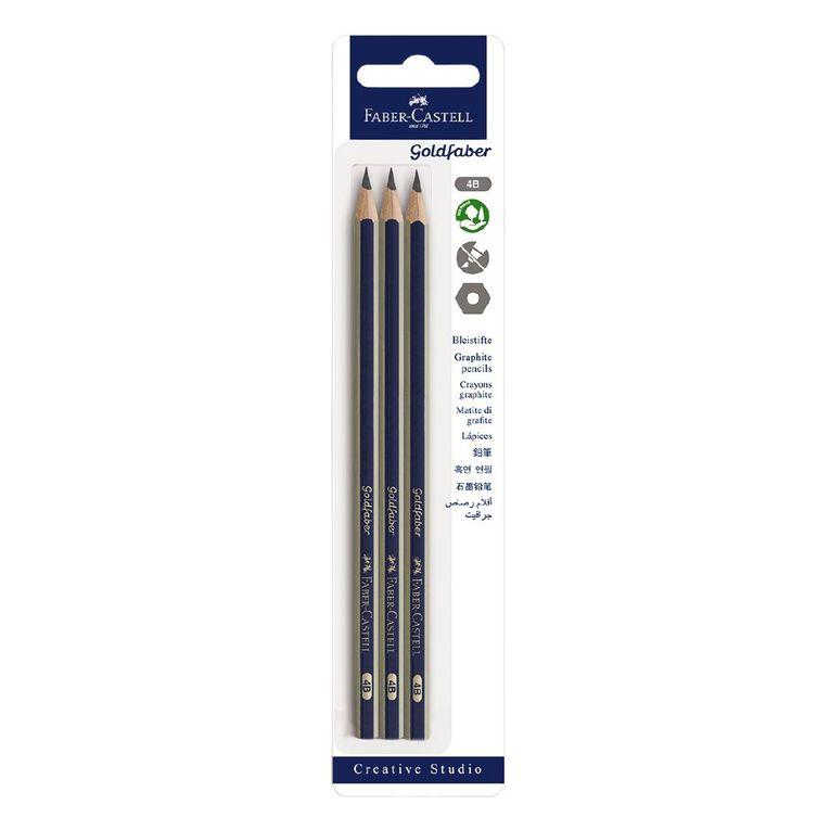 Faber-Castell Goldfaber 4B Pencils 3 Pack, , hi-res