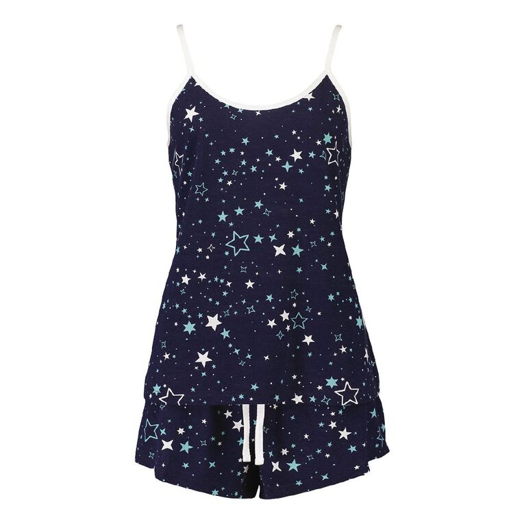 H&H Women's Singlet & Short Pyjama Set, Blue, hi-res image number null