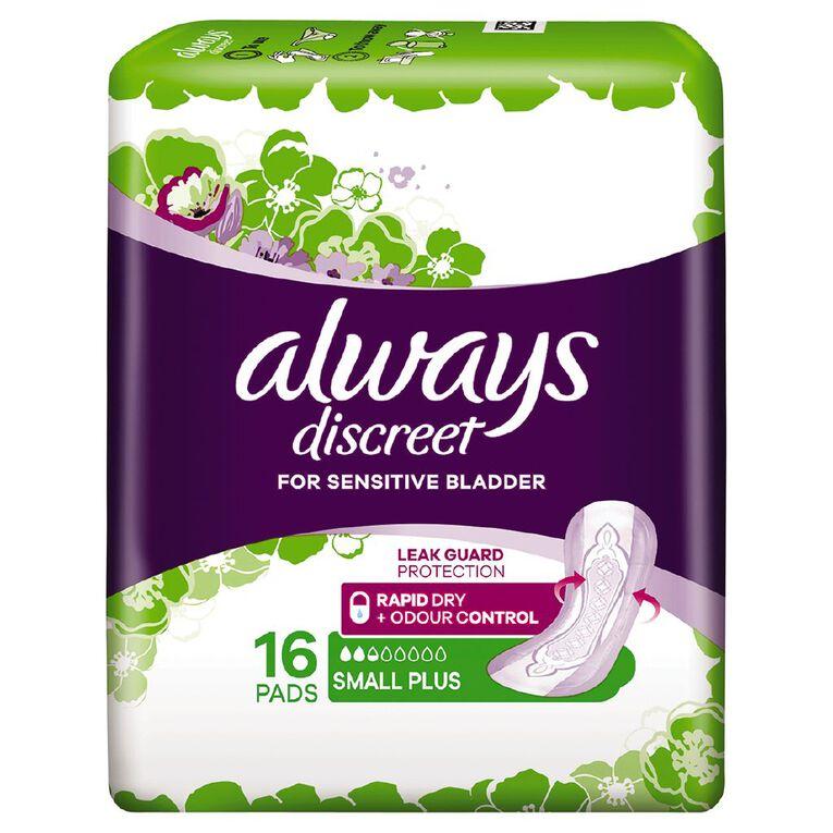Always Discreet Pad Small Plus 16 Pack, , hi-res