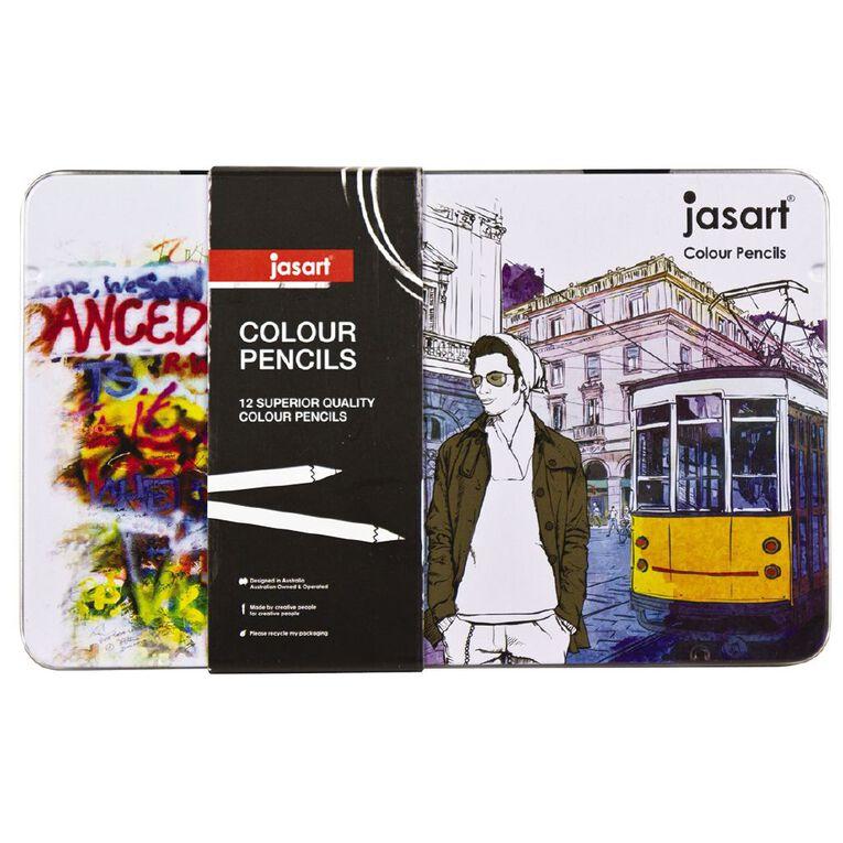Jasart Coloured Pencils in Tin 12 Pack, , hi-res
