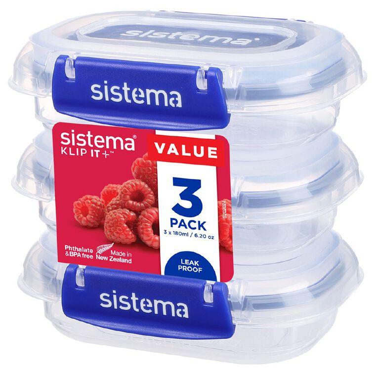 Sistema Klip It Plus Rectangle 3 pack Assorted 180ml, , hi-res