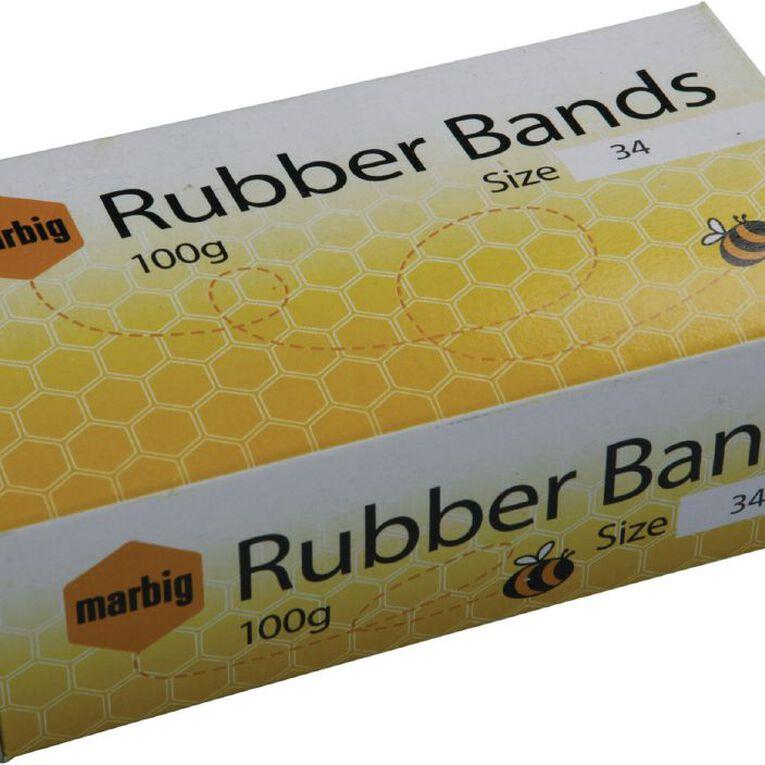 Marbig Rubber Bands 100g Packet #34 Brown, , hi-res