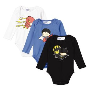Justice League Long Sleeve 3 Pack Bodysuits