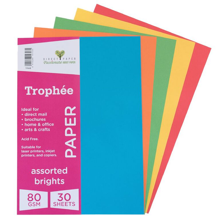 Trophee Paper 80gsm 30 Pack Brights Assorted A4, , hi-res