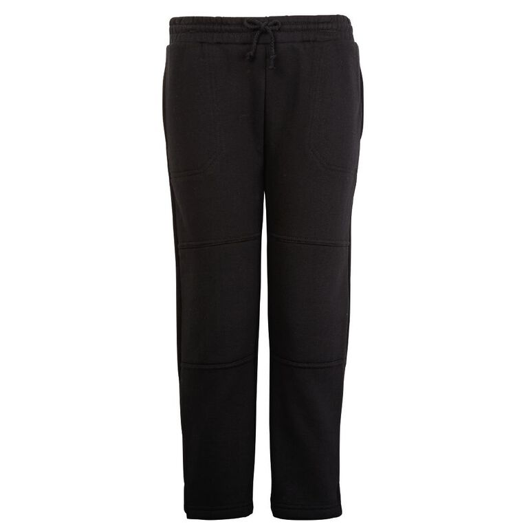 Schooltex Straight Leg Fleece Trackpants, Black, hi-res