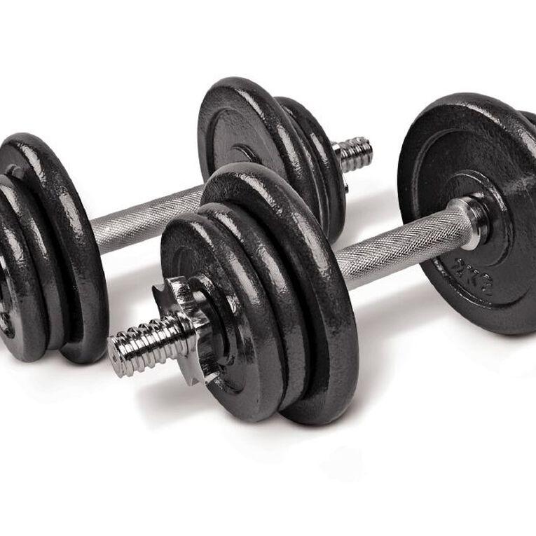 Active Intent Fitness Adjustable Dumbbell Set in Plastic Case Black 20kg, Black, hi-res