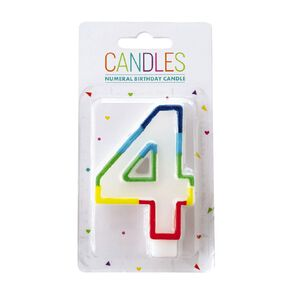 Numeral Candle 4 Rainbow Border 80mm x 10mm White