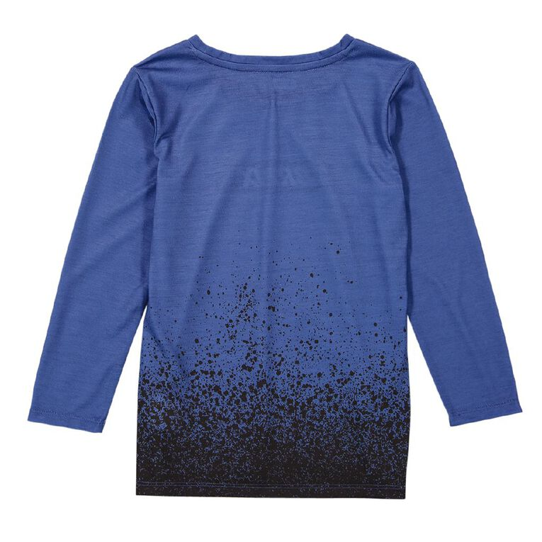 Young Original Long Sleeve Sublimation Print Tee, Blue Mid, hi-res