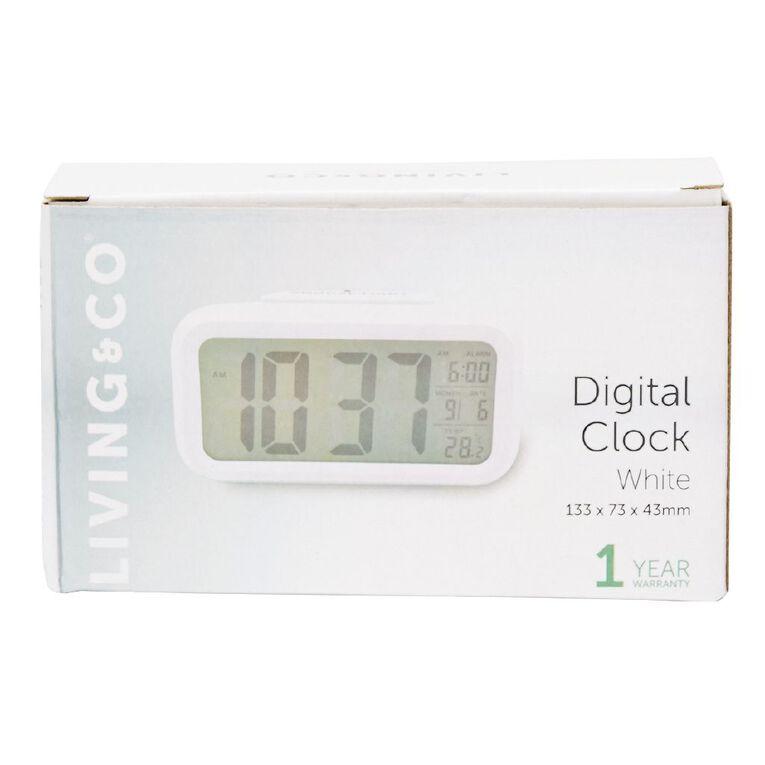 Living & Co Digital Alarm Clock Plastic White 13.3 x 7.3cm, , hi-res